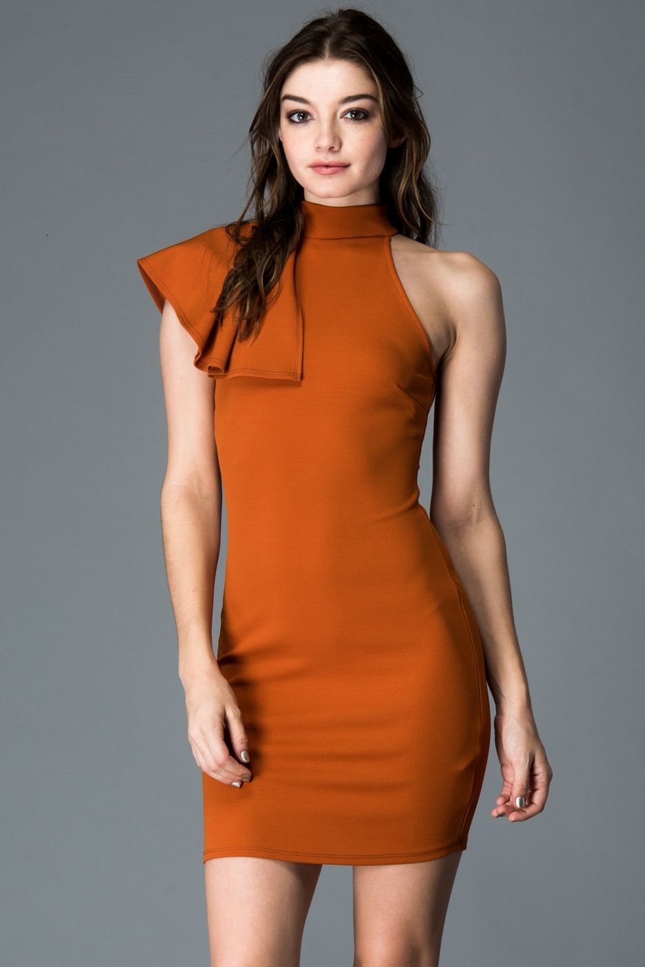 SIDE RUFFLE MOCK NECK DRESS - orangeshine.com