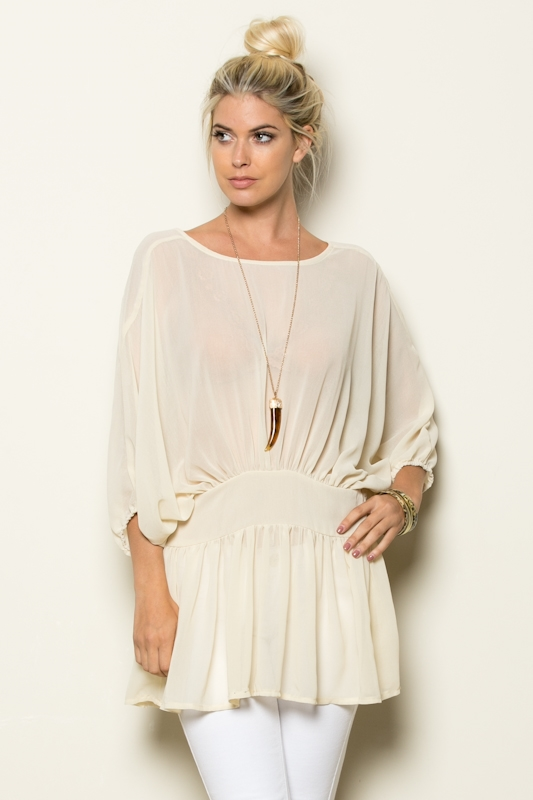 4/3 SLV SEE THROUGH TUNIC TOP - orangeshine.com