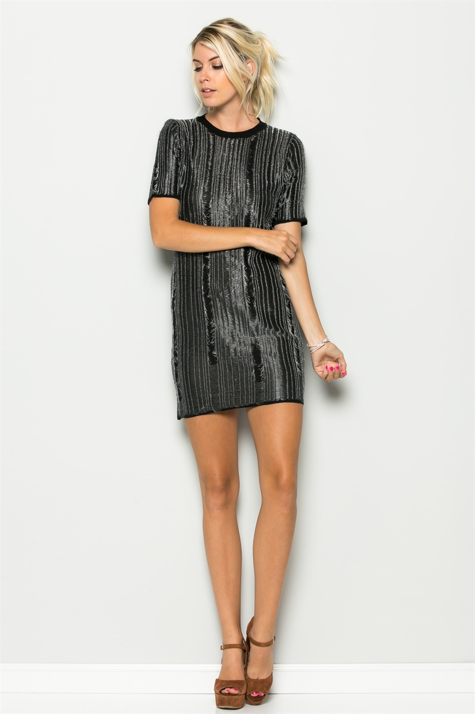 METALLIC DESTROYED LOOK DRESS - orangeshine.com