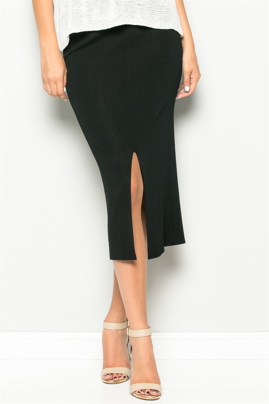 FITTED MIDDLE SLIT KNIT SKIRT - orangeshine.com