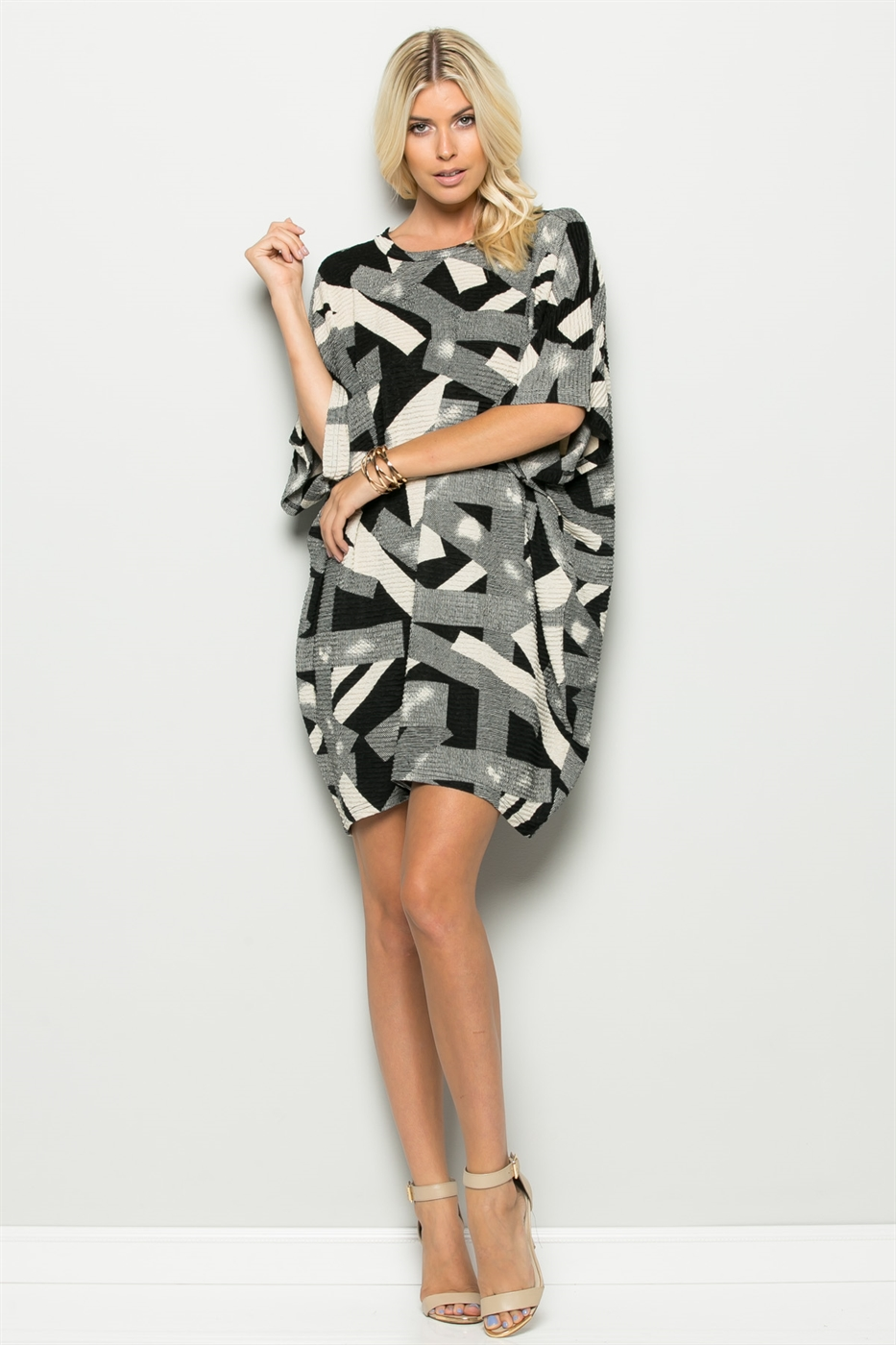 PRINT OVERSIZE TUNIC DRESS - orangeshine.com