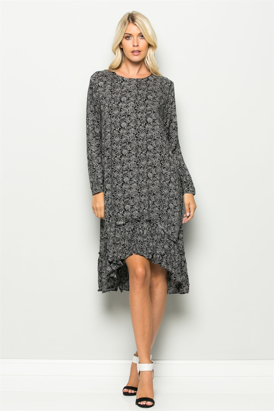 PRINT RUFFLE BOTTOM MIDI DRESS - orangeshine.com
