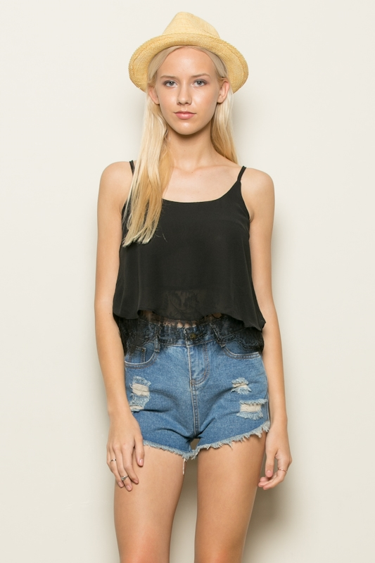 LACE LAYERED CROP TANK TOP - orangeshine.com