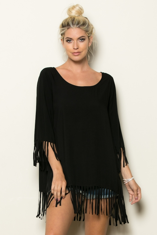 SLV N BOTTOM FRINGE TUNIC TOP - orangeshine.com
