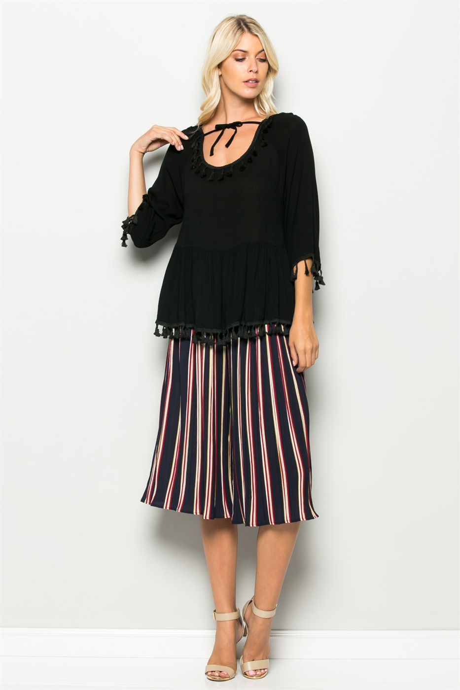 3/4 SLV TASSEL TOP - orangeshine.com