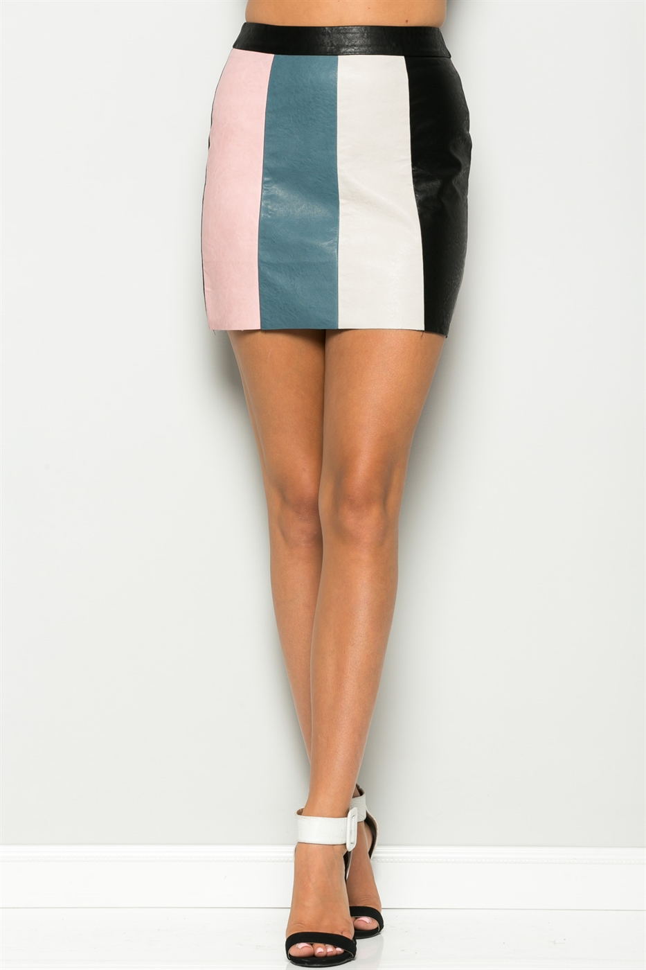 PU COLOR BLOCK MINI SKIRT - orangeshine.com