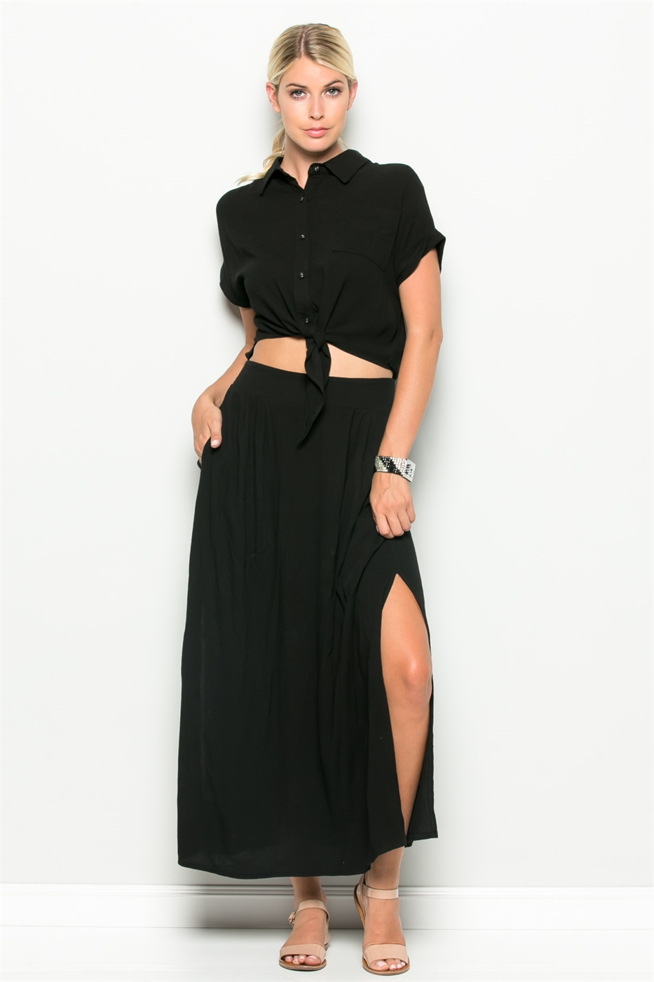 WAIST OPEN MAXI DRESS - orangeshine.com