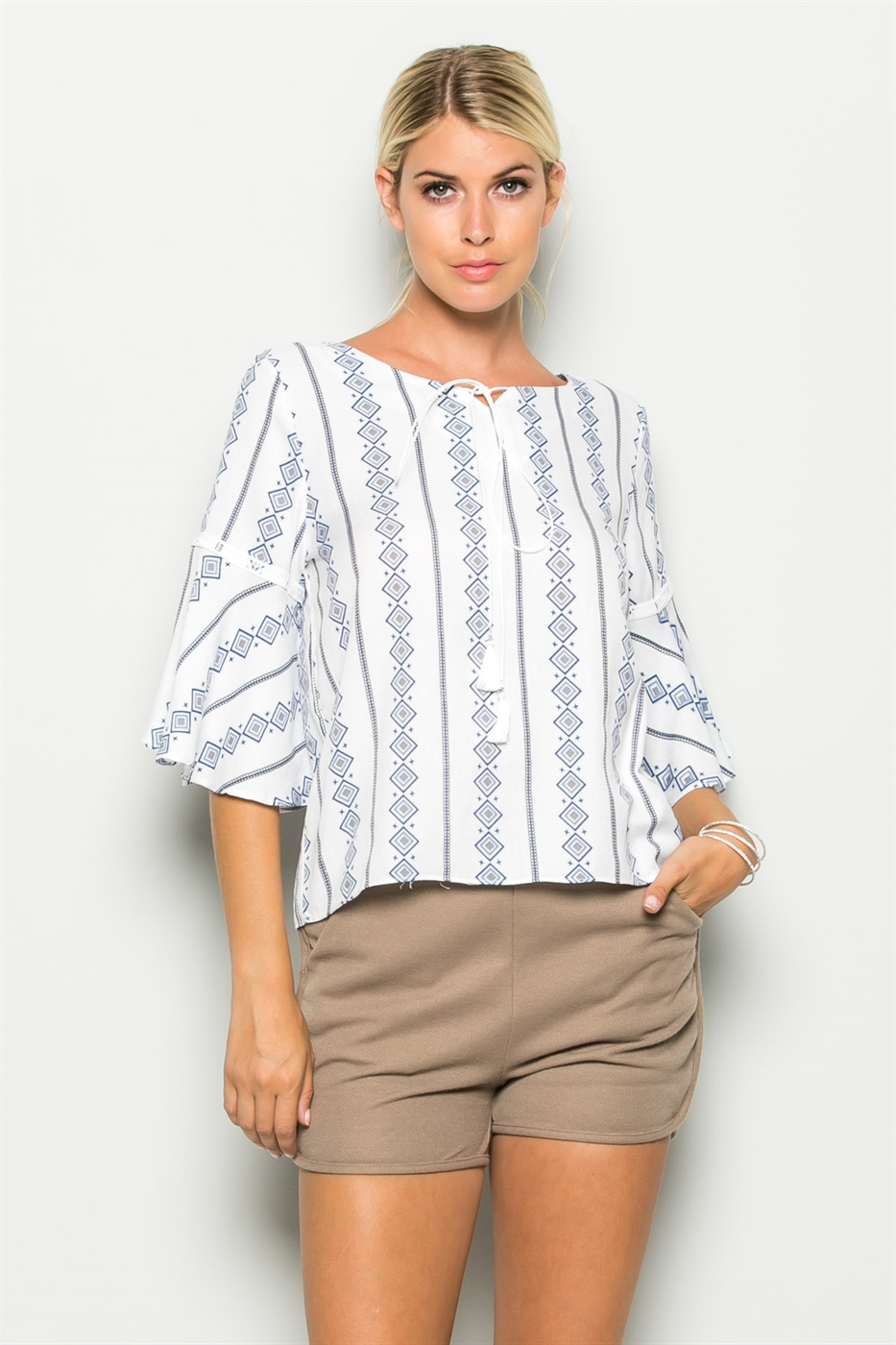 BELL SLEEVE PRINT TOP - orangeshine.com