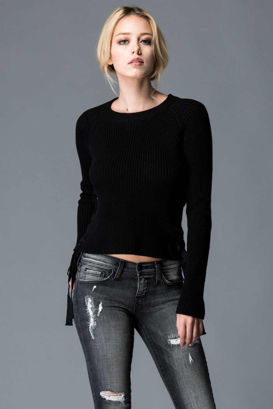 SWEATER WITHGROMMET SIDE LACE - orangeshine.com