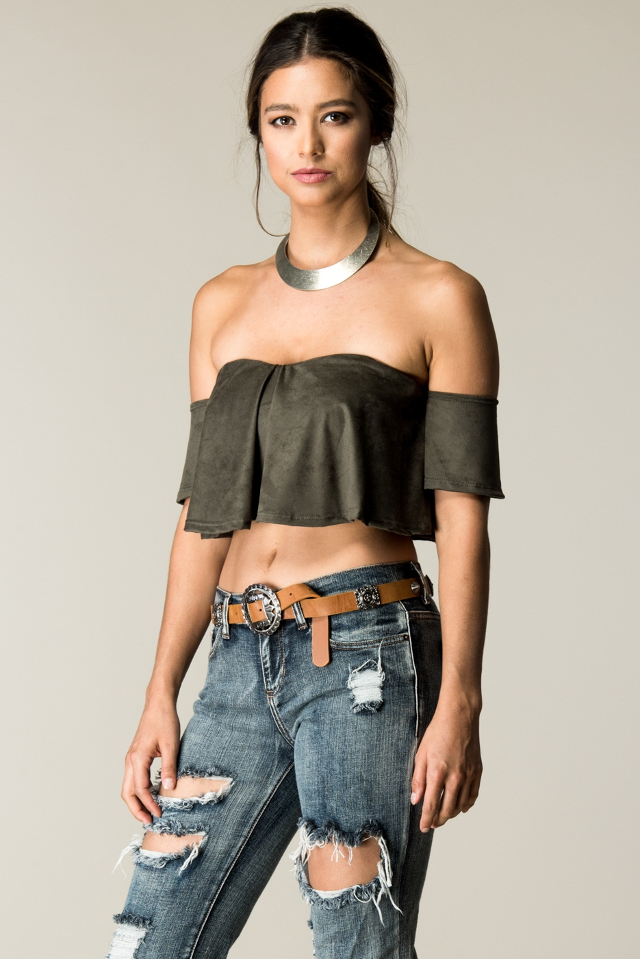 SUEDE RUFFLE OFF SHOULDER TOP - orangeshine.com