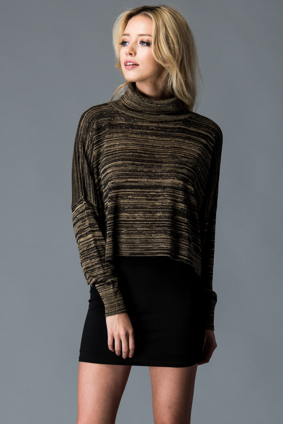 HIGH NECK RUSTIC PRINT SWEATER - orangeshine.com