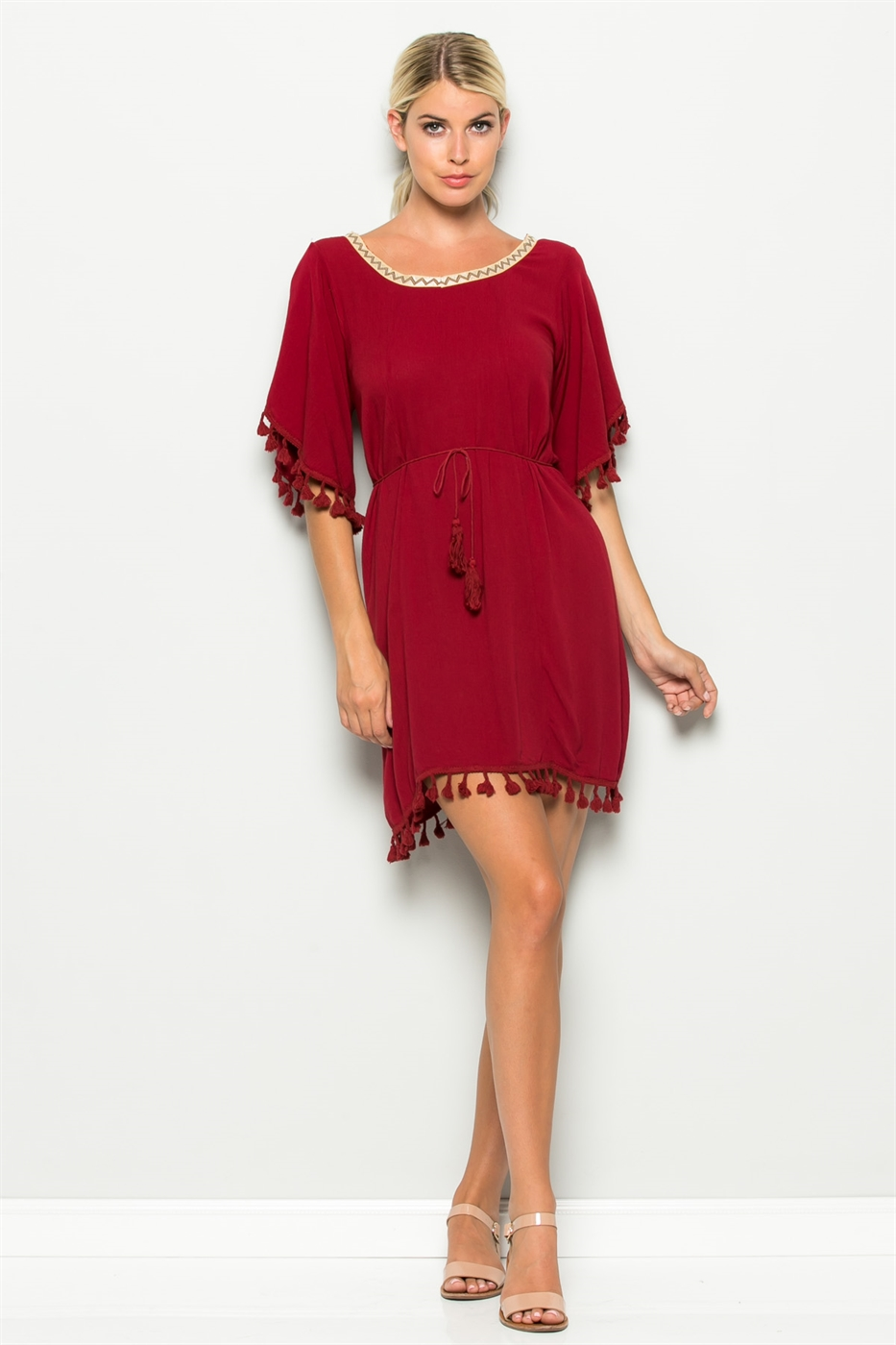 POINT EMBROID TASSEL DRESS - orangeshine.com