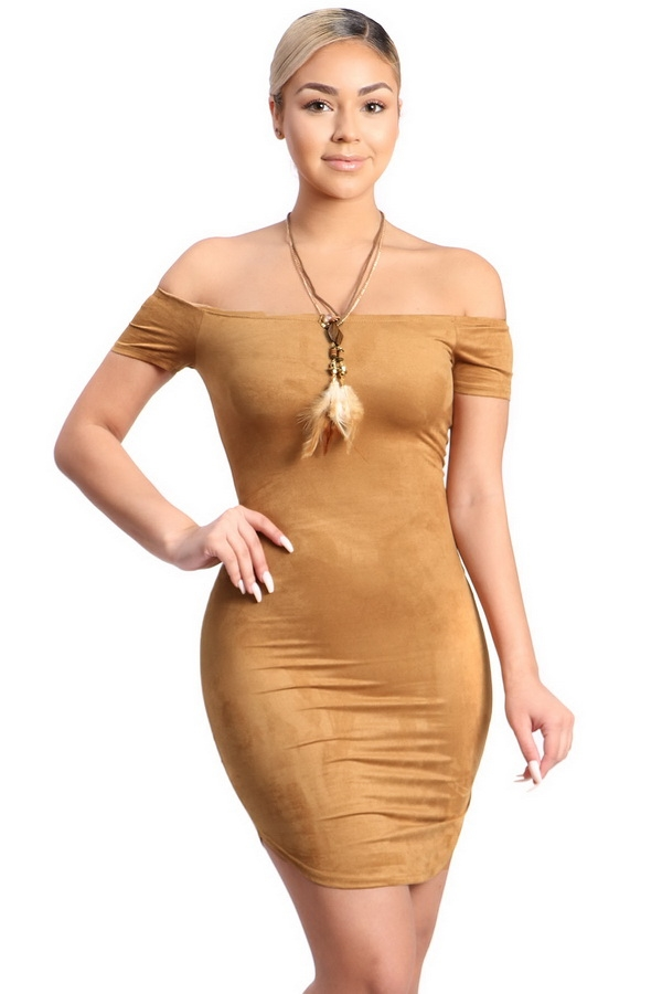 short sleeves suede dress - orangeshine.com