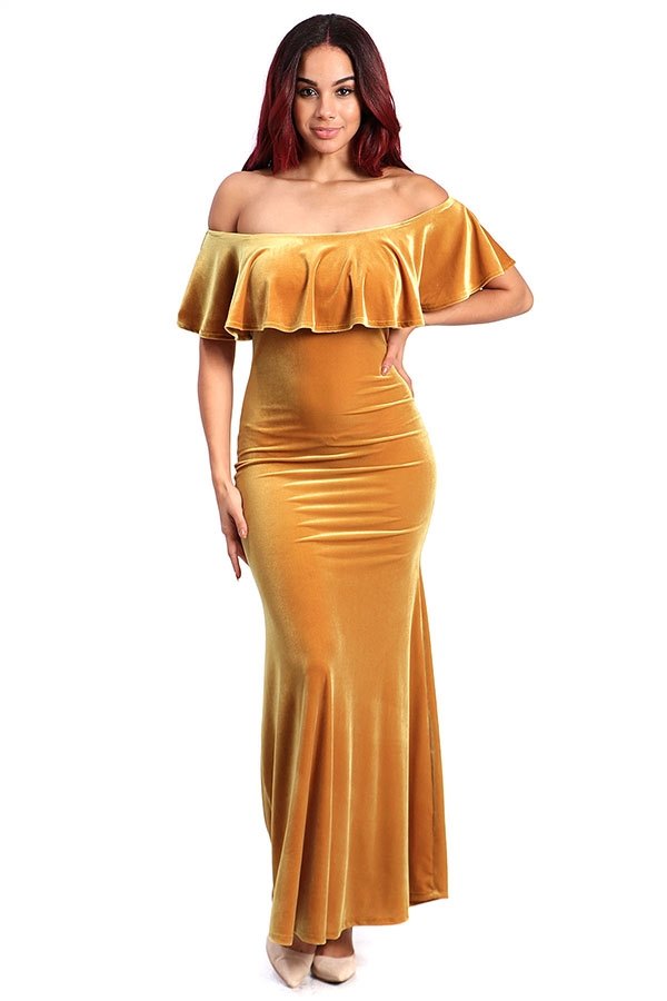 Off-shoulder velvet maxi dress - orangeshine.com