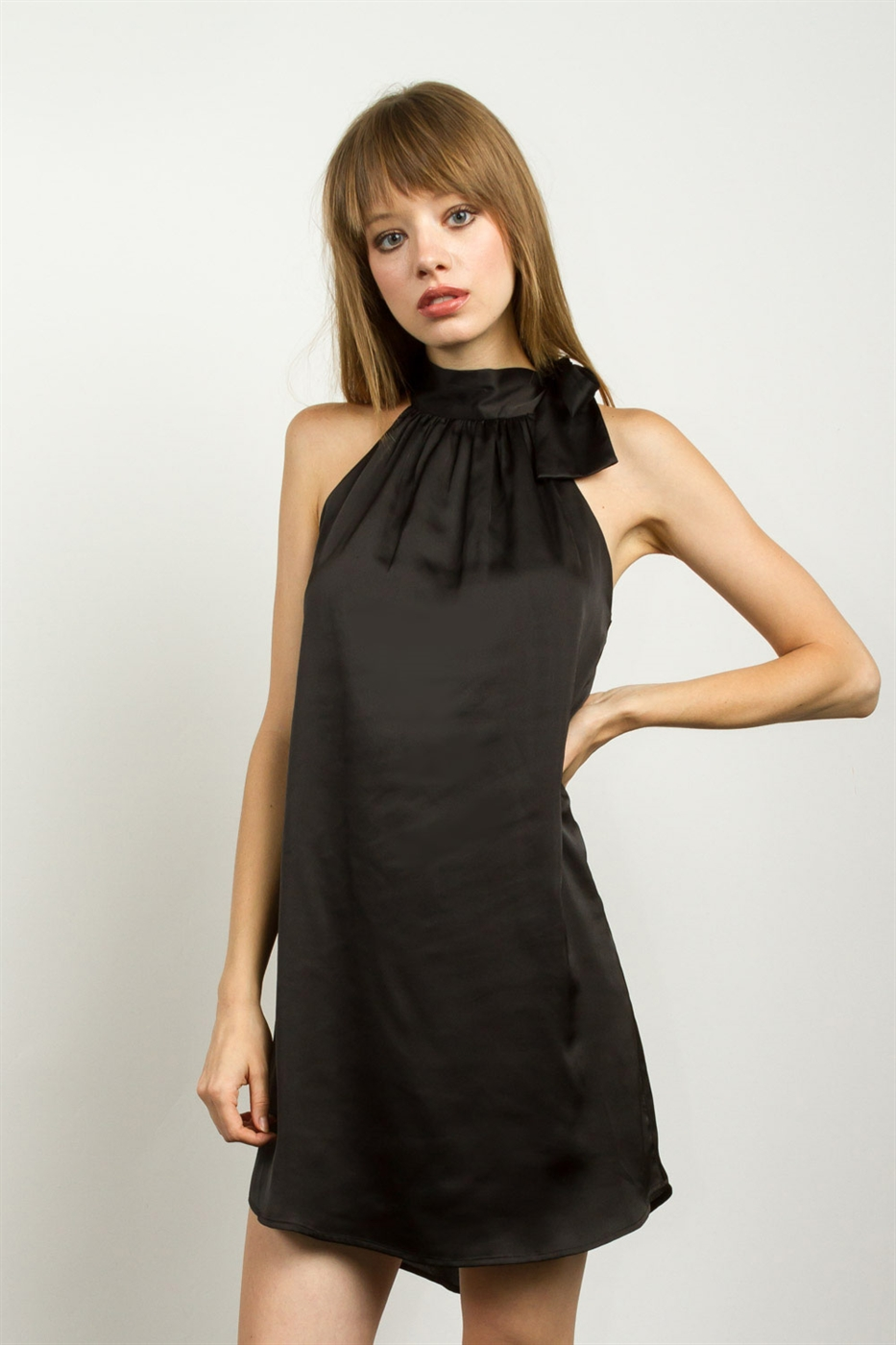 SATIN HALTER DRESS - orangeshine.com