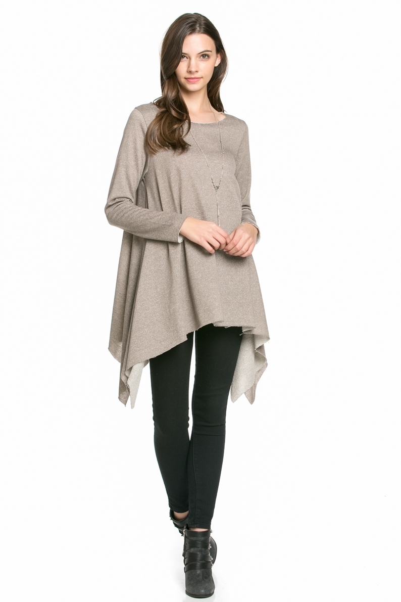 Casual French terry Tunic top - orangeshine.com