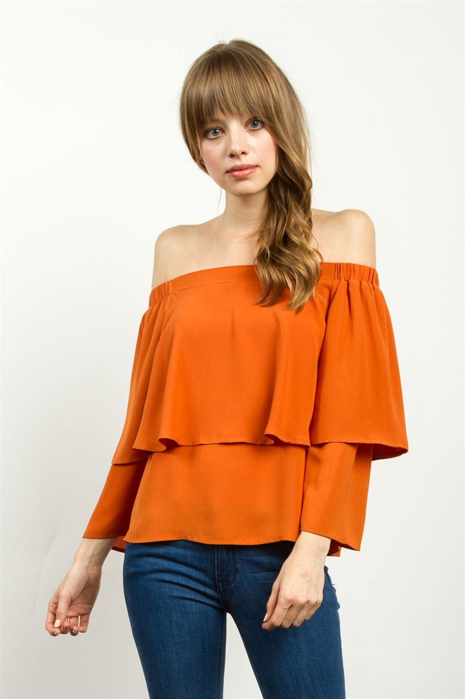 FLOUNCE LAYER OFF SHOULDER TOP - orangeshine.com