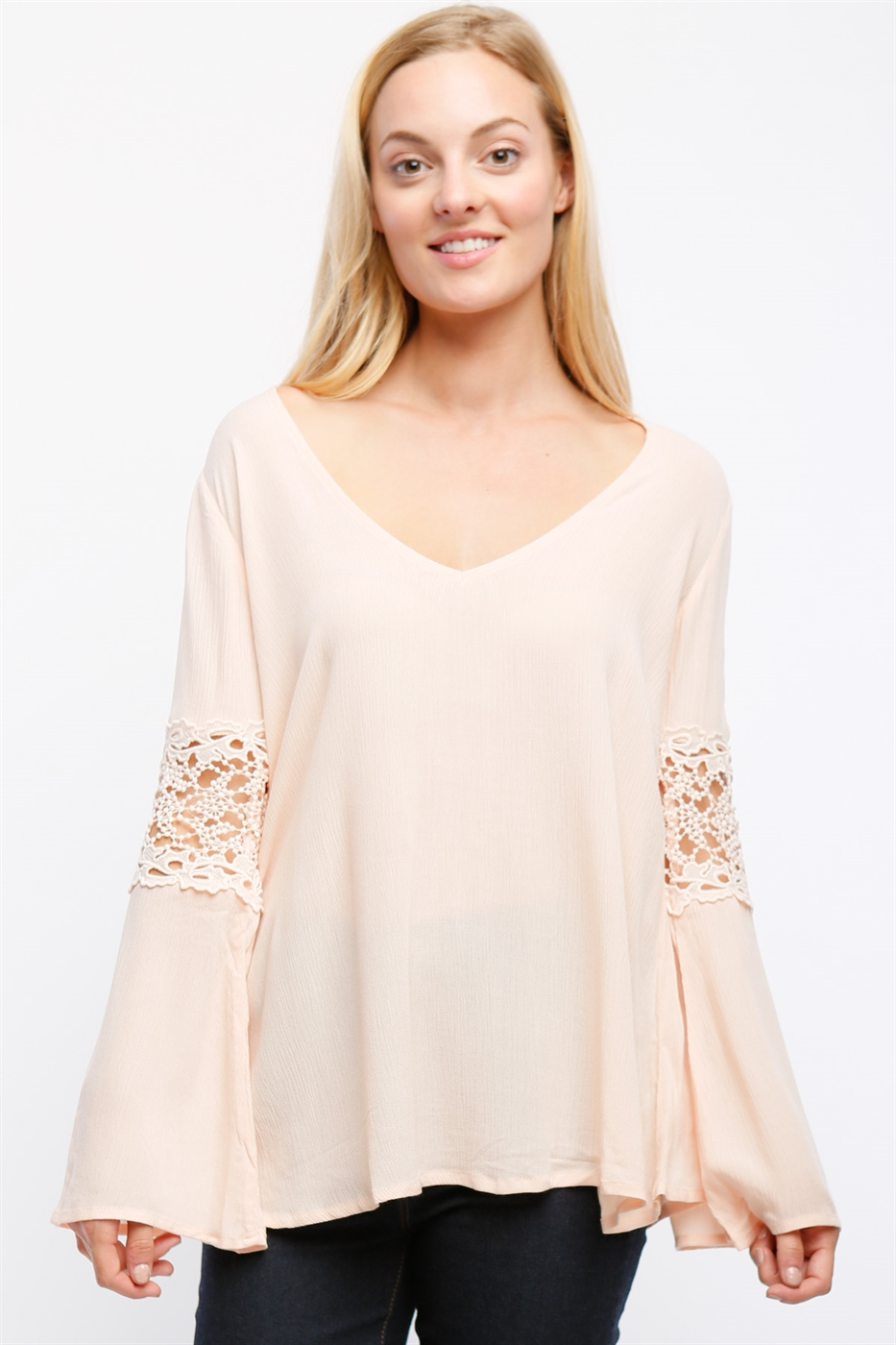 BELL SLEEVE BLOUSE WITH LACE - orangeshine.com