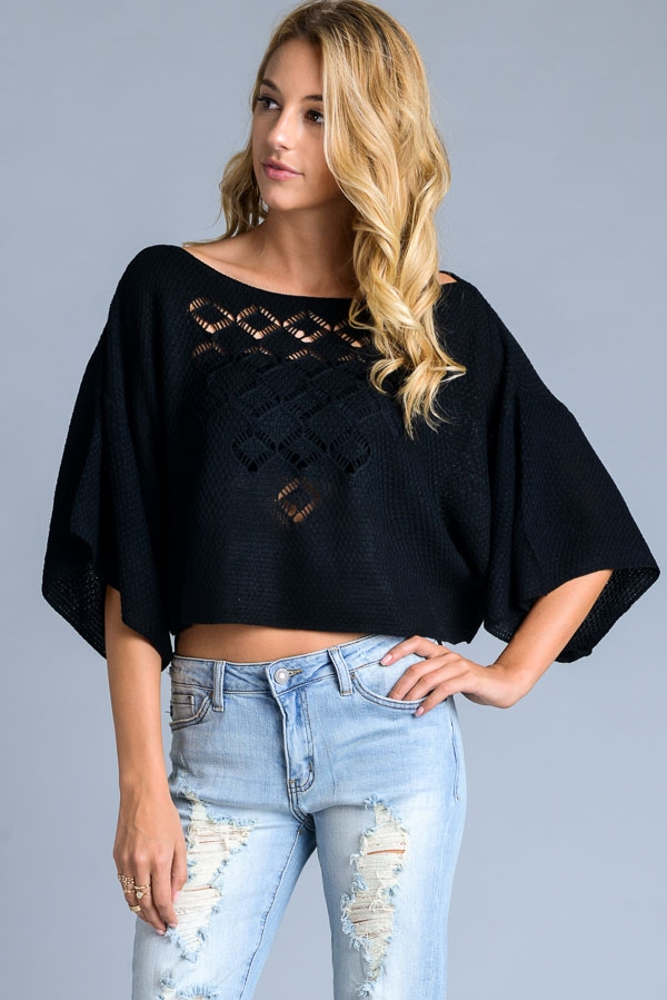 OVER SIZED CROPPED TOP SWEATER - orangeshine.com