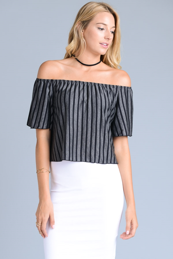 Striped Off Shoulder Top - orangeshine.com