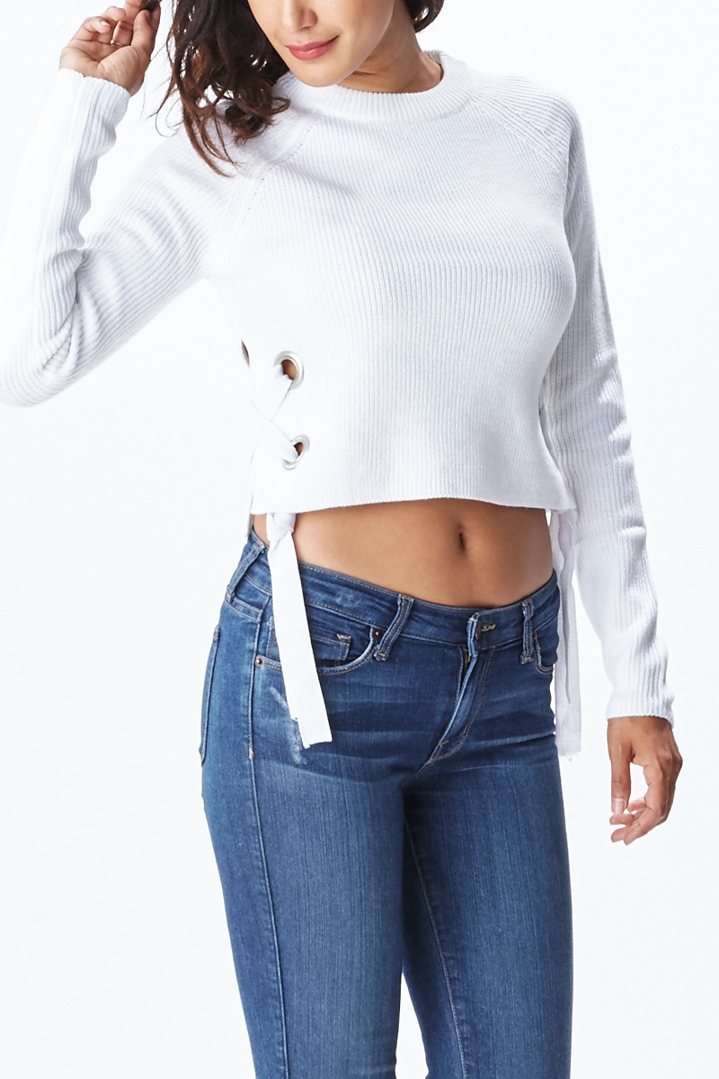 Eyelet Crop Sweater - orangeshine.com