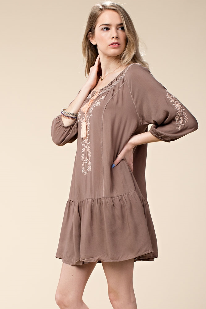 EMBROIDERED PEASANT DRESS - orangeshine.com