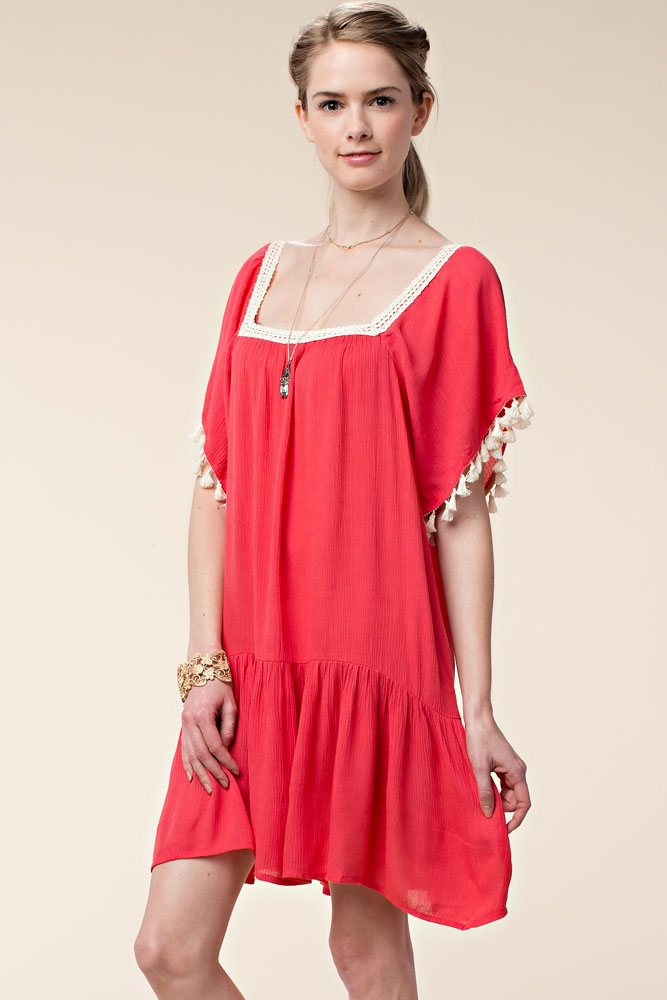 SQUARE NECK WOVEN DRESS - orangeshine.com