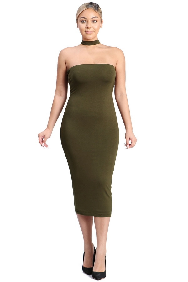 Chocker designed midi bodycon - orangeshine.com
