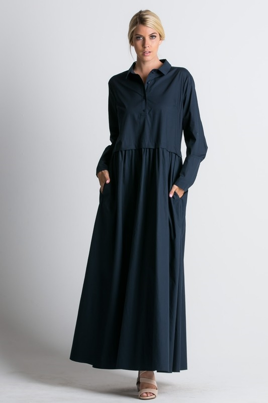 maxi a-line shirt dress - orangeshine.com