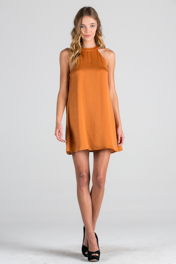 GOLD SATIN DRESS WITH LINING - orangeshine.com