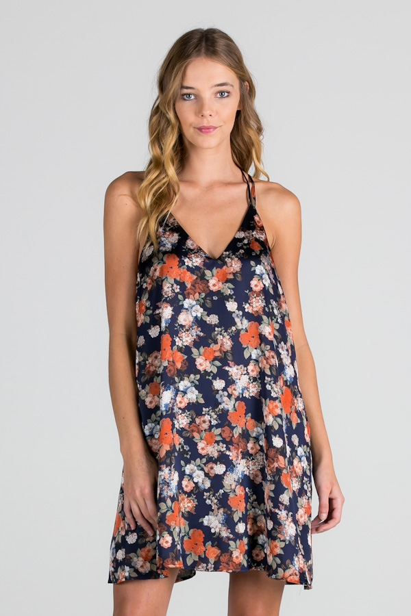 SATIN FLORAL STRAPPY DRESS - orangeshine.com