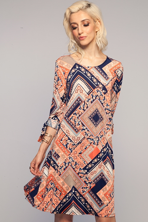 PATCHWORK TIE DRESS - orangeshine.com