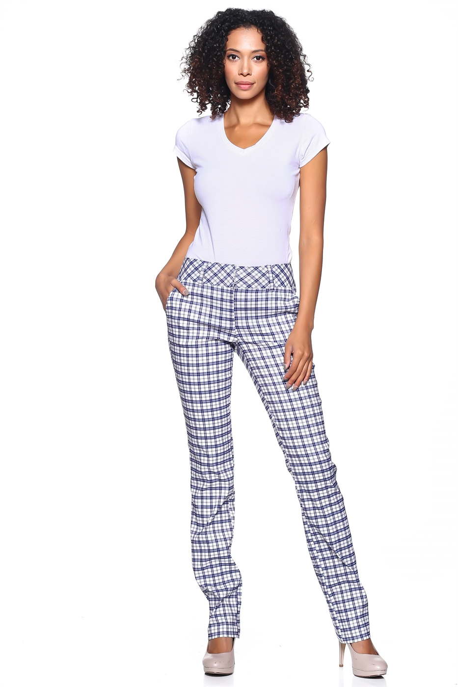 Plaid Straight Pants - orangeshine.com