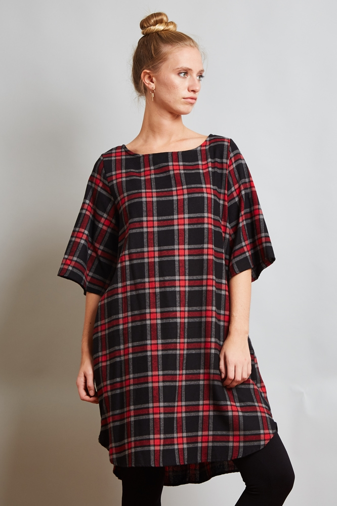 PLEAT HALF SLEEVE CHECK DRESS - orangeshine.com