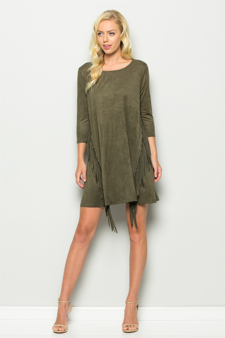 Suede Dress With Fringe Detail - orangeshine.com