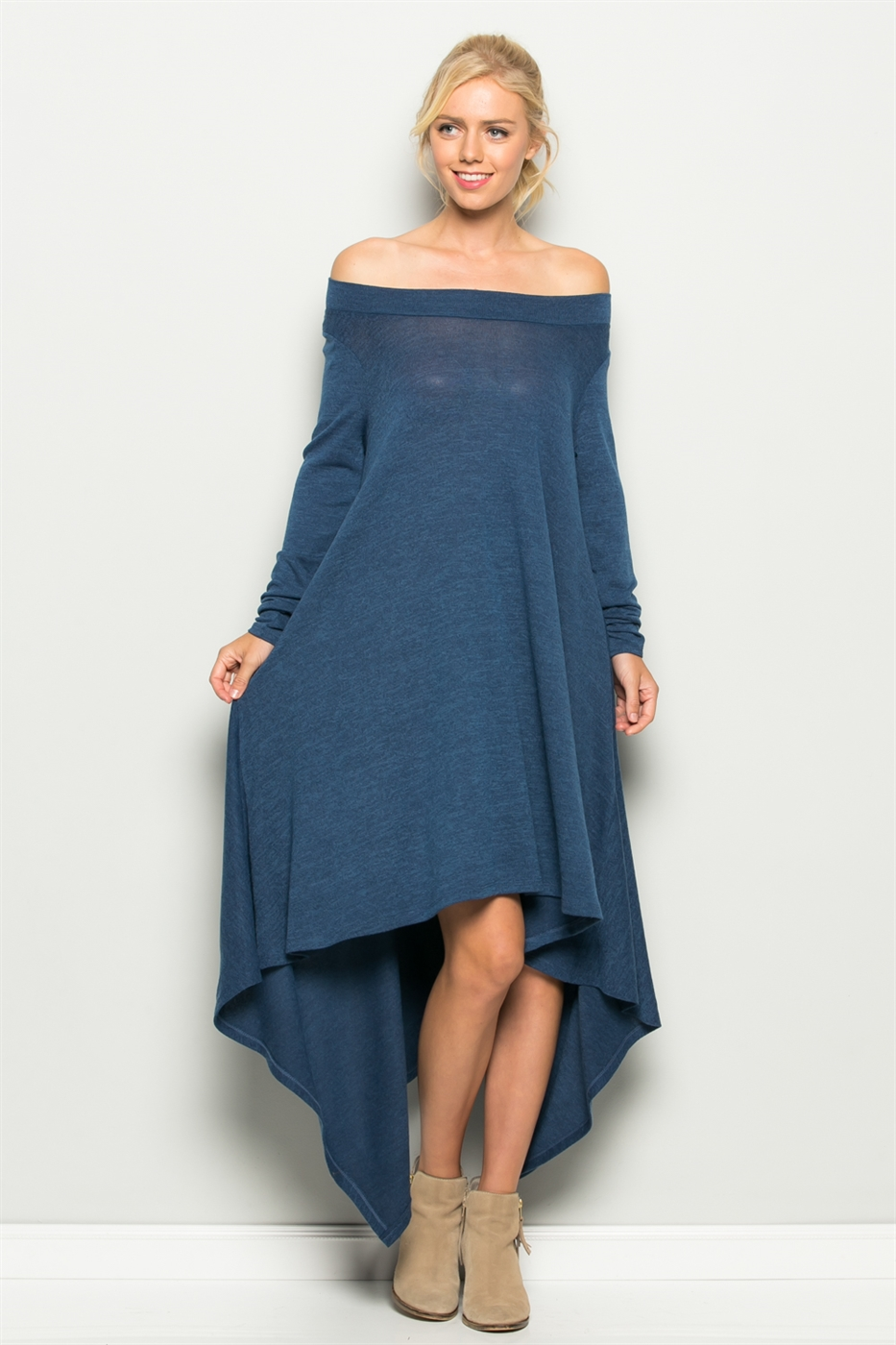 Off Shoulder Hanky Knit Dress - orangeshine.com
