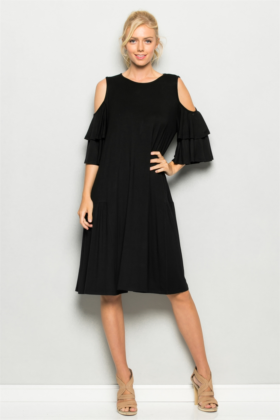 Cold Shoulder Ruffle Dress - orangeshine.com
