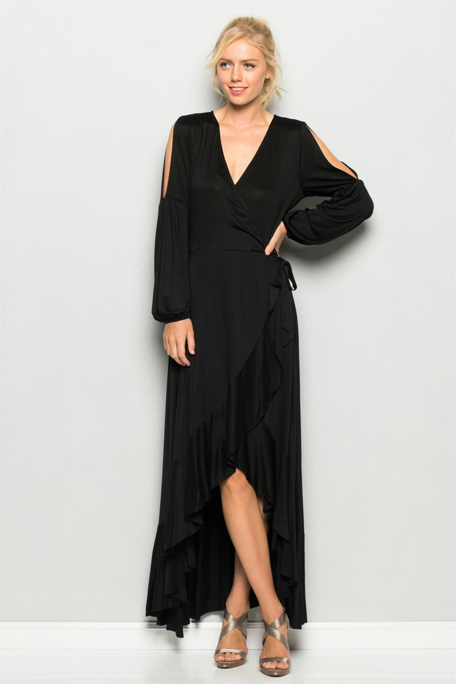 Open Sleeve Ruffle Maxi Dress - orangeshine.com