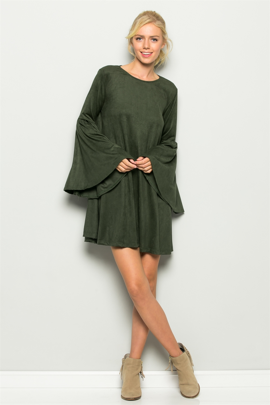 Open Sleeve Ruffle Wrap Dress - orangeshine.com
