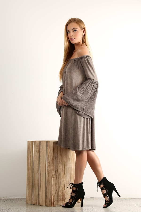 Mineral wash long sleeve dress - orangeshine.com