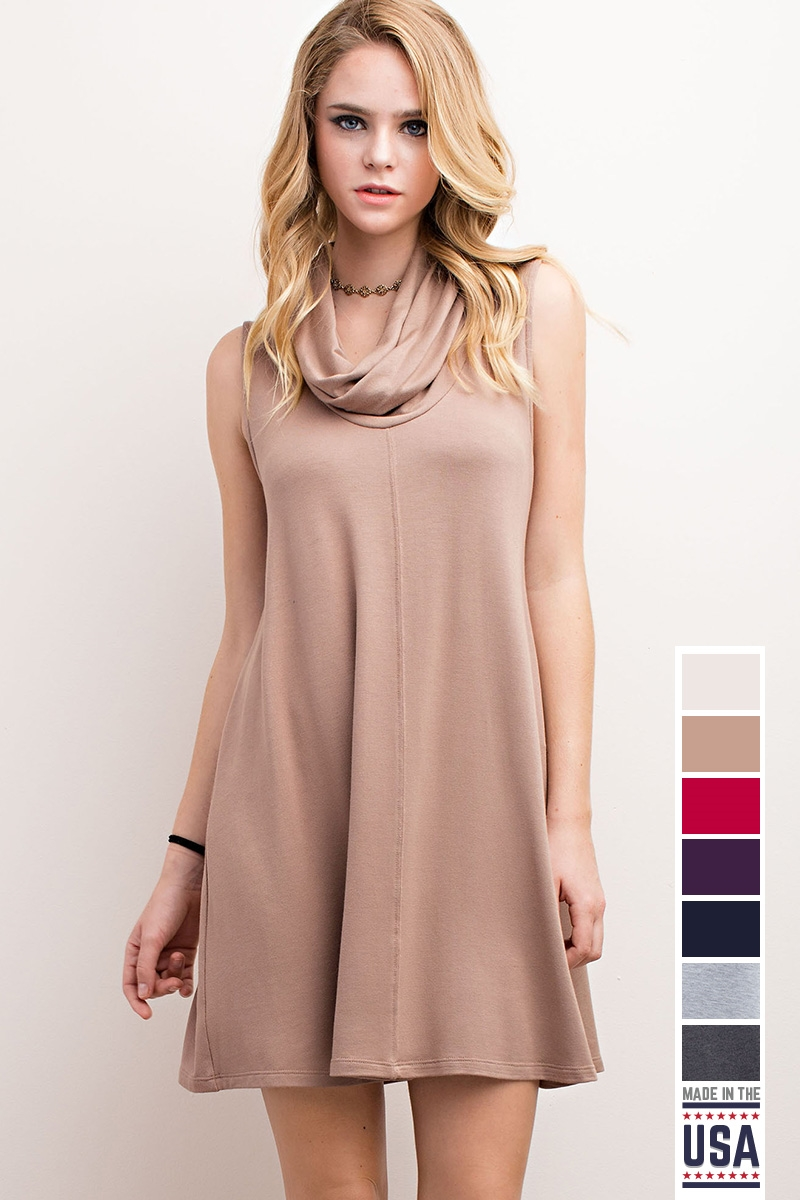 COWL NECK SLEEVE LESS DRESS - orangeshine.com