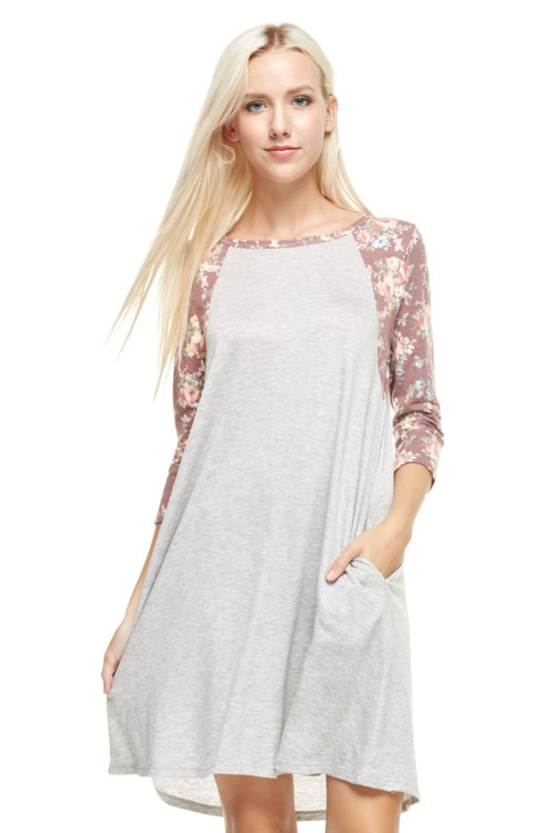 FLORAL RAGLAN TEE DRESS - orangeshine.com