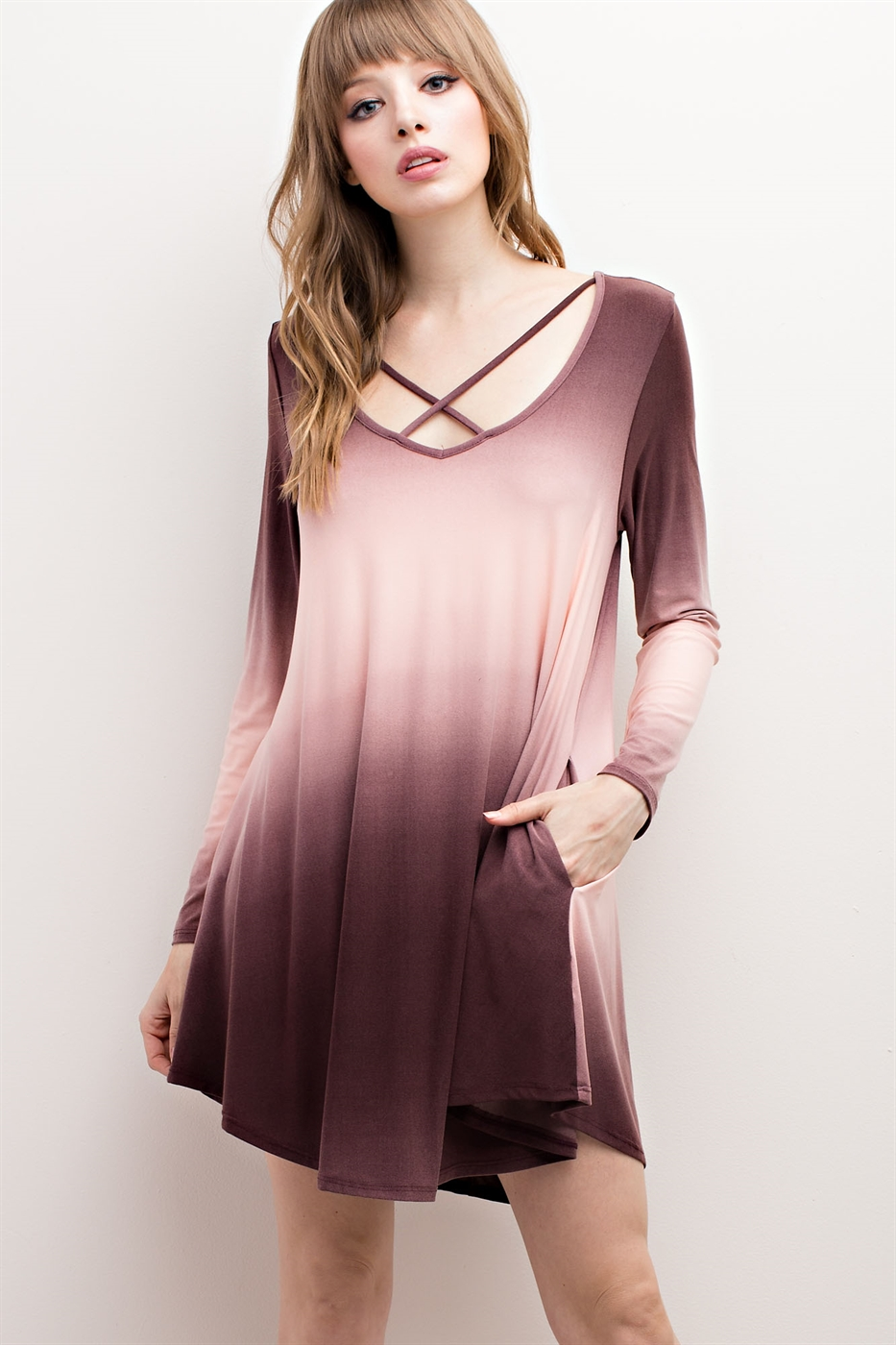 OMBRE CRISSCROSS POCKET DRESS - orangeshine.com