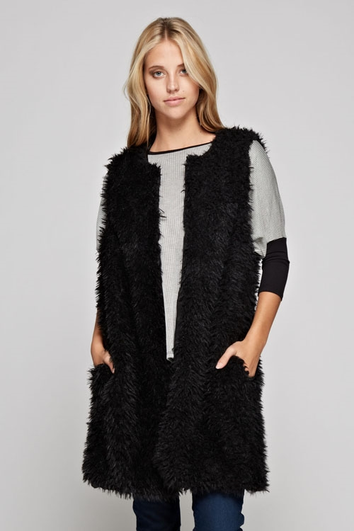 fur long vest hook - orangeshine.com