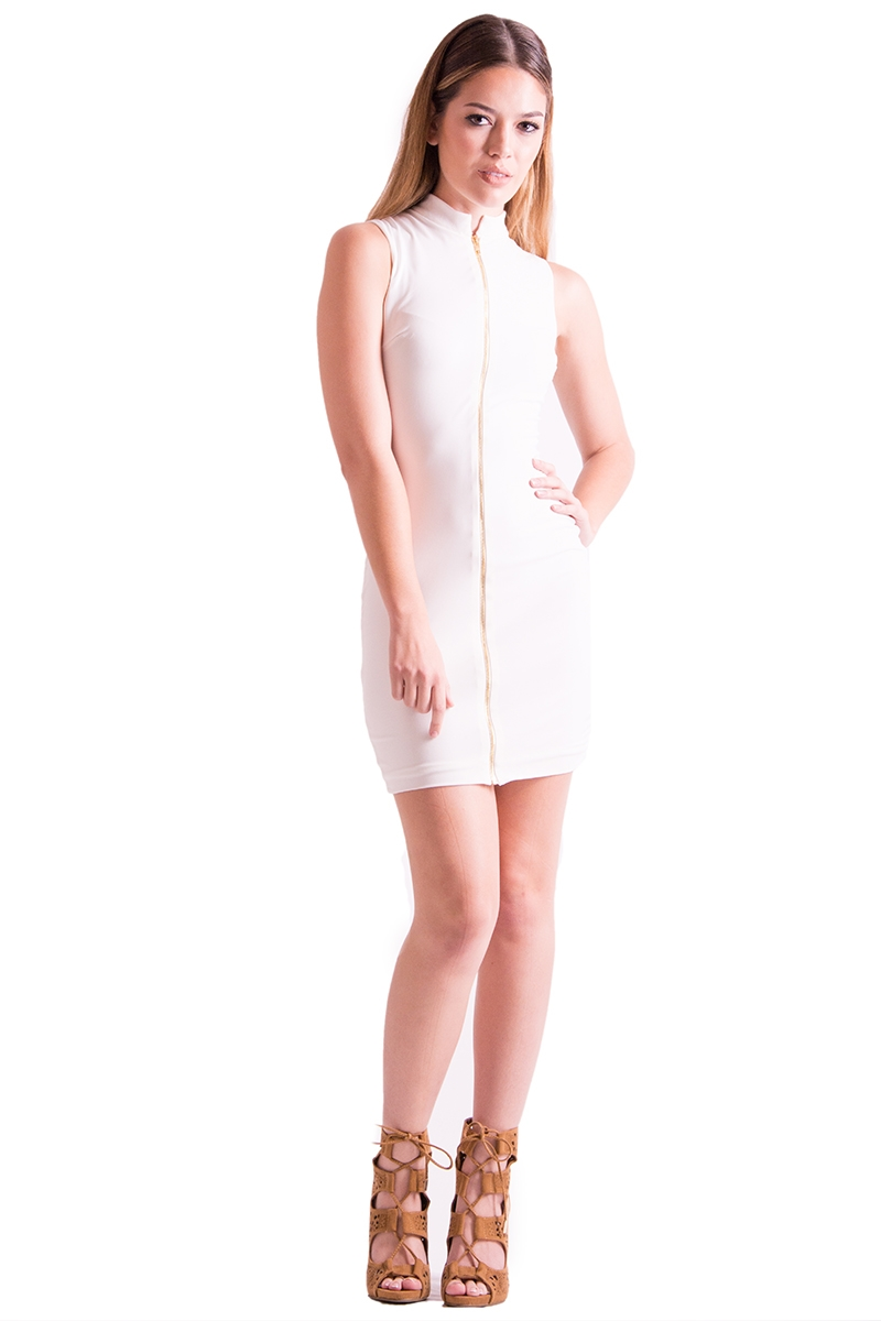 ZIP UP MINI DRESS - orangeshine.com