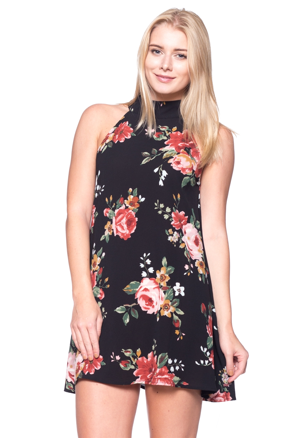 HOLTER NECK FLOWER PRINT DRESS - orangeshine.com
