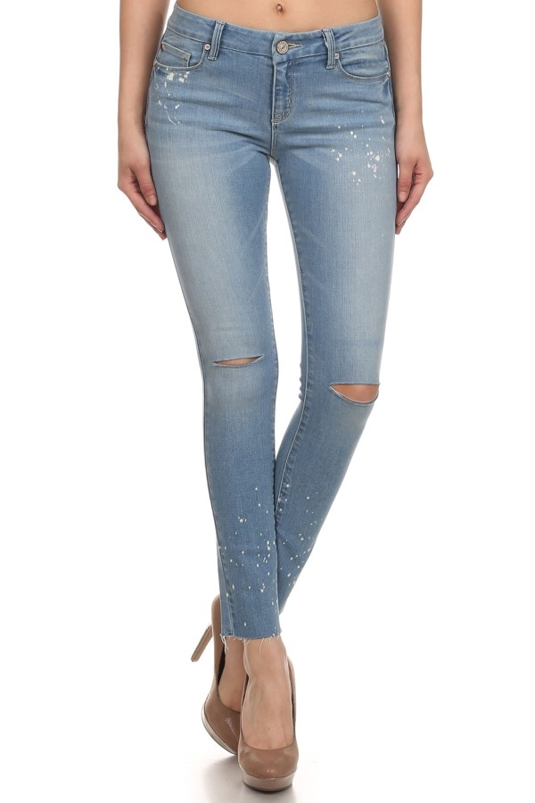 DESTROYED ANKLE SKINNY JEANS - orangeshine.com