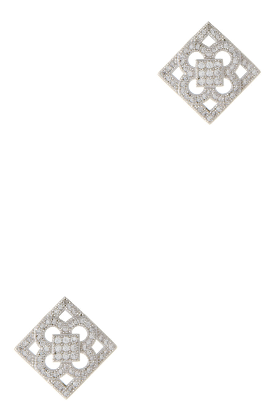 CZ PAVE CUT-OUT DESIGN EARRING - orangeshine.com