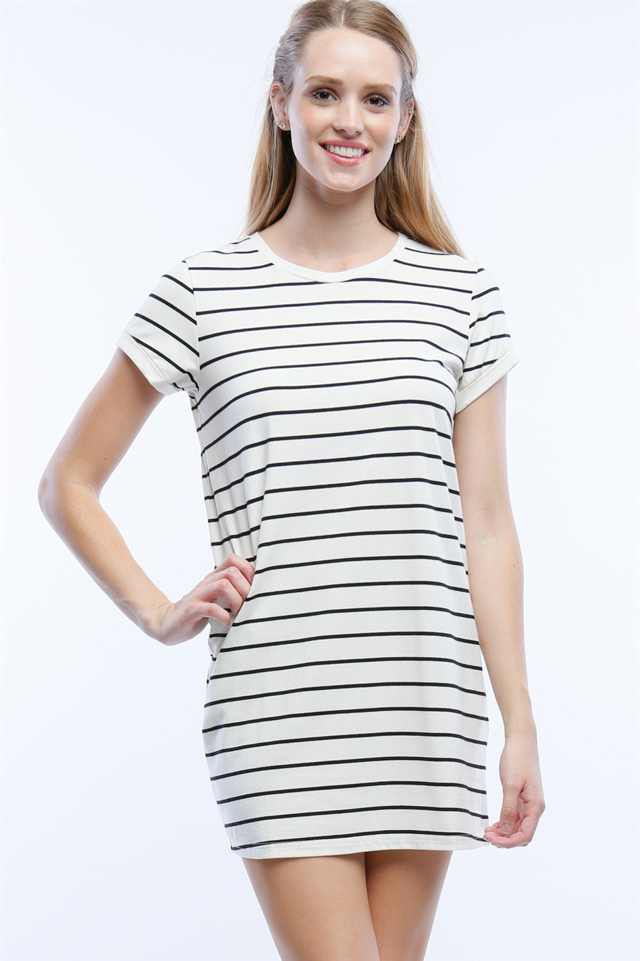 STRIPE T-SHIRT DRESS - orangeshine.com