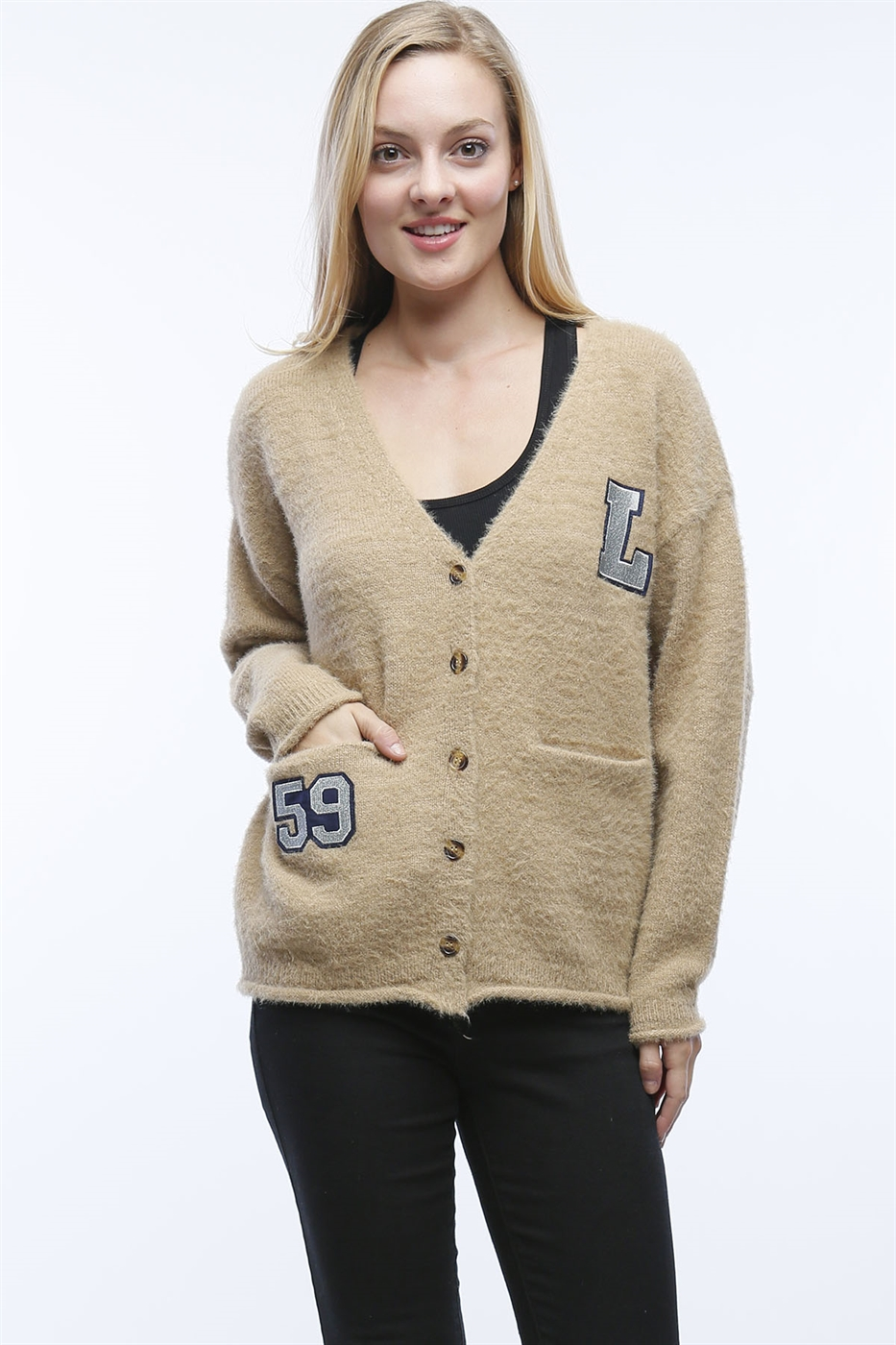 MOHAIR CARDIGAN WITH PATCHES - orangeshine.com